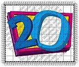 1/2 Sheet - 20th Birthday - Cake Photo Frame - Edible Cake/Cupcake Topper!!!