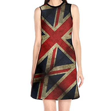 GIFTSt Fashion UK-Flag England Womens Party Midi Dress Business Knee Length Work Dresses Without