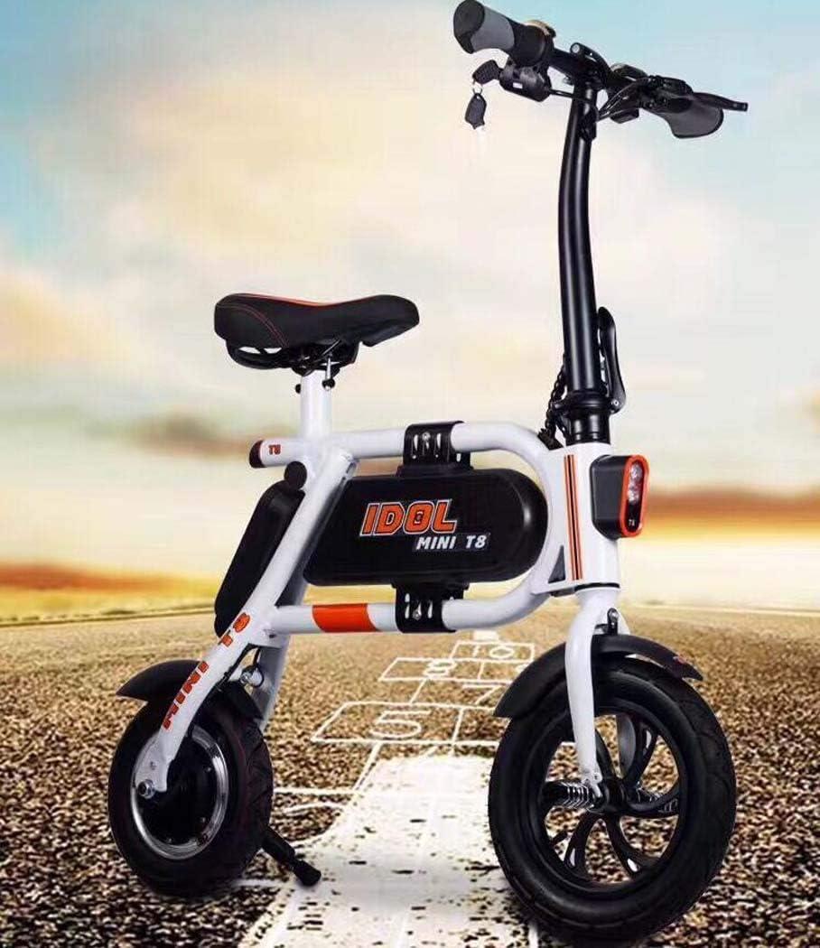 大人の折り畳み式電気自動車、アルミニウム合金単一都市のスクーター、リチウム電池新しい折り畳み式電気自転車 (色 : 白, サイズ : A:High match)