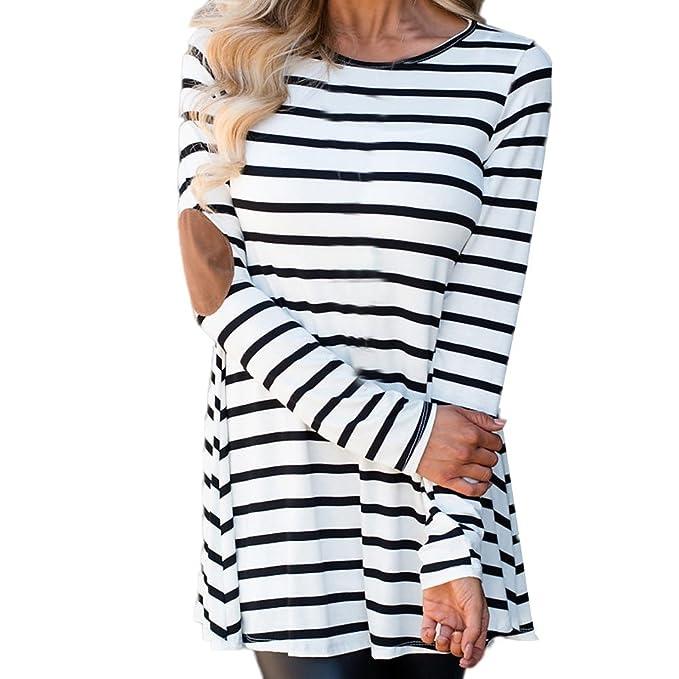 Hoplsen Mujer Blusa Moda A rayas Empalme Manga larga Camiseta Sudor Sweatshirt Primavera Otoño Invierno Halar