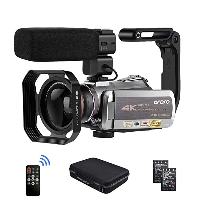 10 opinioni per ORDRO AZ50 Real 4K Videocamera 30FPS Visore Notturno 4K Videocamera Supporto