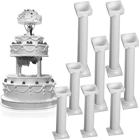 8pcs Set White Small Large Plastic Cake Pillars Wedding Cake Pillars Stand Fondant Cake Support Mold Valentine S Day Wedding Birthday Cake Decoration Tools Amazon Co Uk Kitchen Home