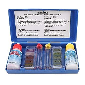 Kit de prueba de pH de piscina, kit de prueba de cloro de pH Caja ...