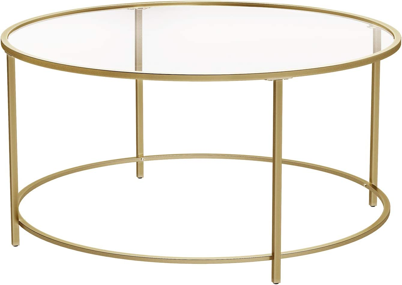 - Amazon.com: VASAGLE Round Coffee Table, Glass Table With Golden
