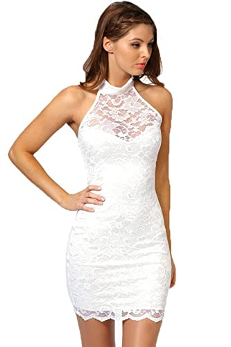 WELVT Women's Sexy Slim Halter Floral Lace Bodycon Backless Dress Club
