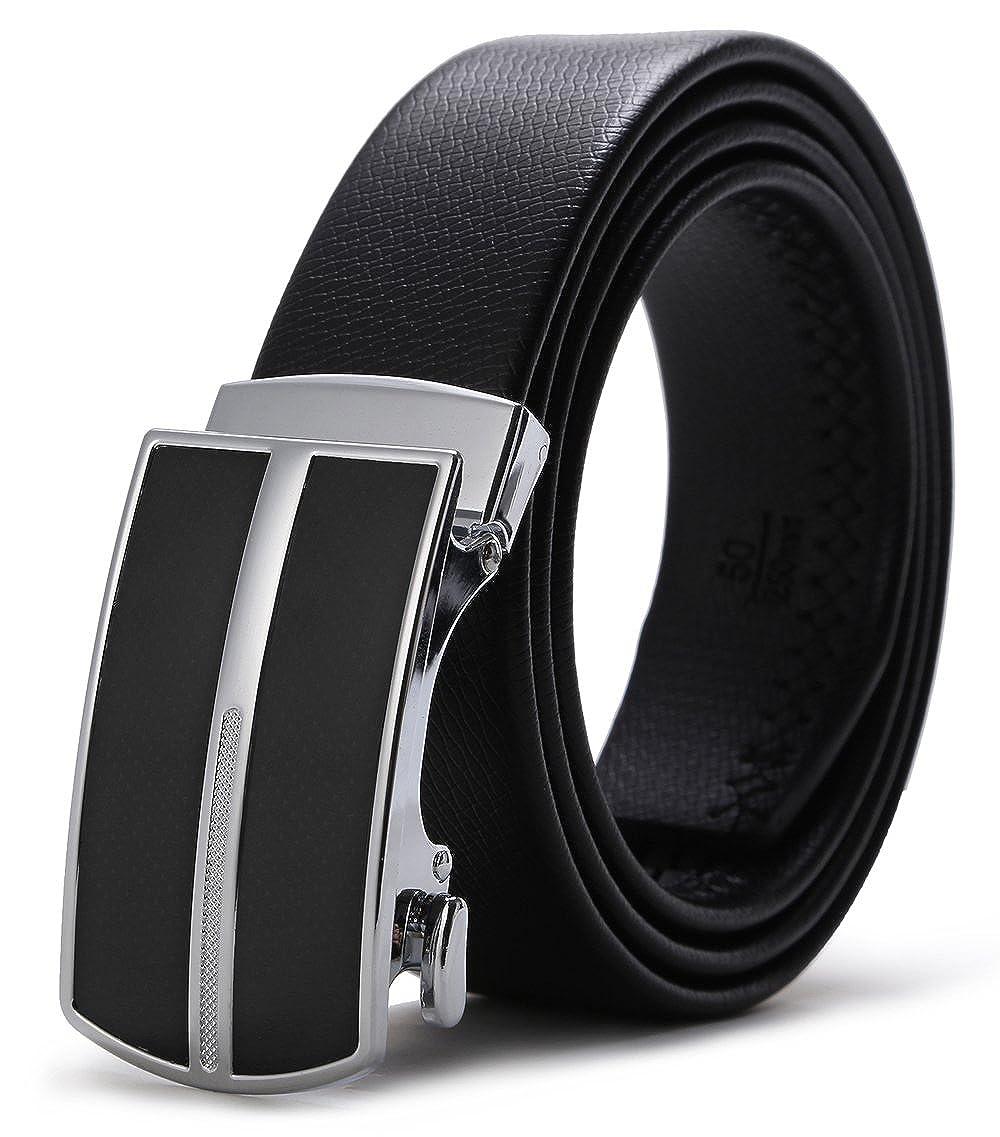 67081d4cae56 ITIEZY Ceinture Homme en Cuir Boucle Automatique Noir   Marron (Mode Style)  101 Noir Custom  jusqu à 125 cm