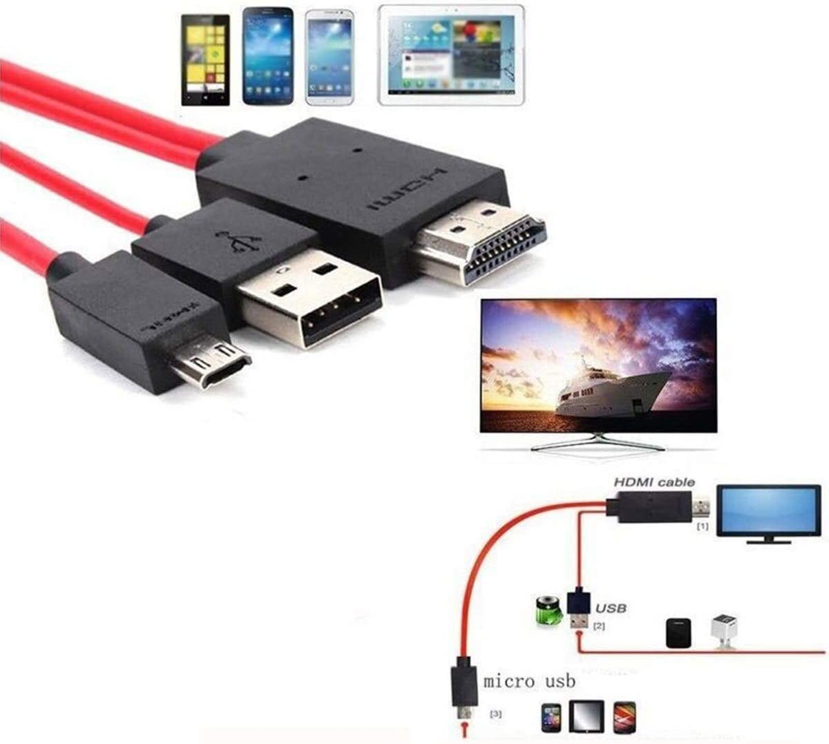 S4 Note 3 S3 Note 2 red look see Phone to Tv Cable MHL Micro USB to HDMI 1080P HD TV Cable Adapter for Samsung Galaxy S5