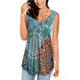 MIROL Womens Summer Sleeveless V Neck Solid Color Casual Swing Shirts Flowy Tank Tops Blouses with Buttons