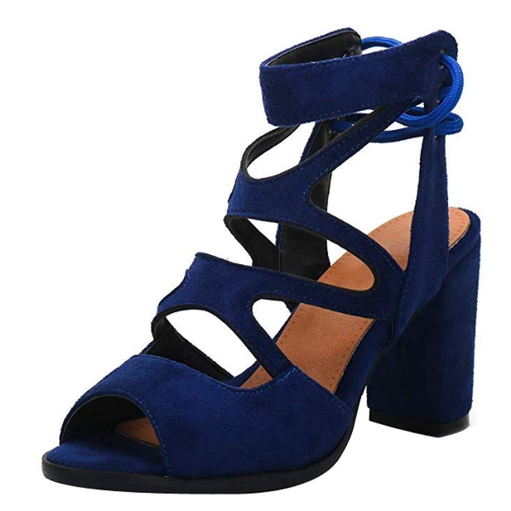 Heel Sandals for Women,Peep Toe Ankle Boots Comfortable Platform Chunky High Heel Walking Gladiator Sandals (US:6, Blue)