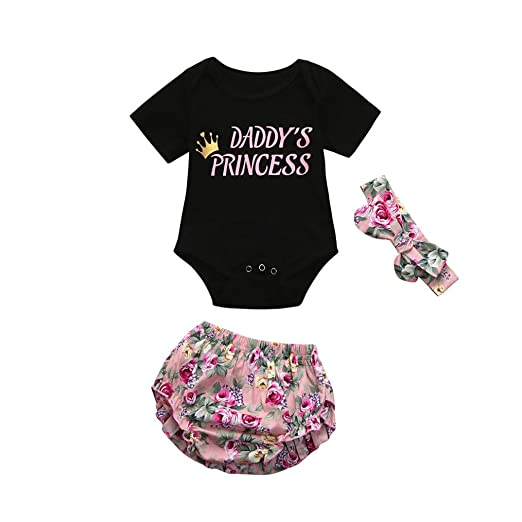 026e70672 Amazon.com  Cuekondy Newborn Infant Baby Girl Toddler 3pcs Summer ...