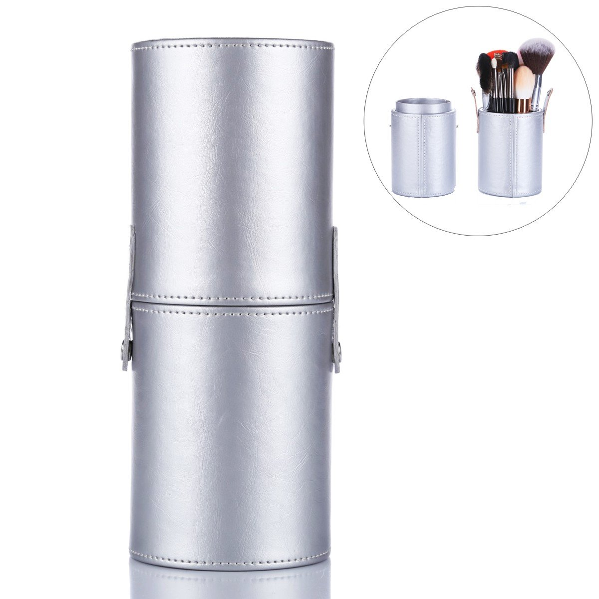 EMOCCI Makeup Brush Holder Large Capacity Make up Brush Case Organizer Cosmetic Cup Cylinder Storage Box Bag Pu Leather (Silver)