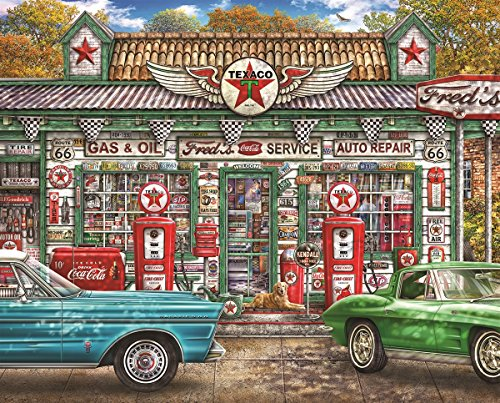 Springbok Puzzles - Freds Service Station - 1000 Piece Jigsaw Puzzle - Large 30 Inches by 24 Inches Puzzle - Made in USA - Unique Cut Interlocking Pieces