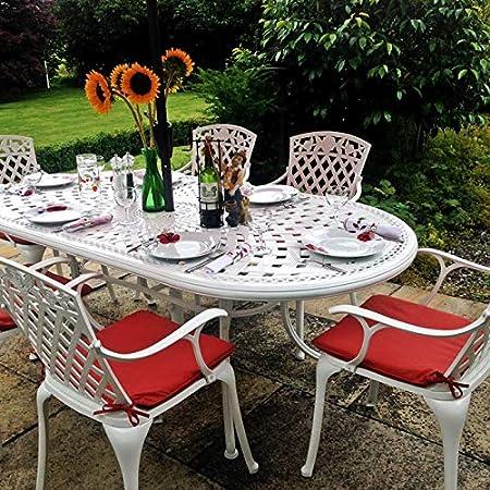 June Mesa de Jardín y 4 Sillas Rose en Blanco con Cojines de Asiento en Terracota | Lazy Susan Muebles de Jardín: Amazon.es: Jardín
