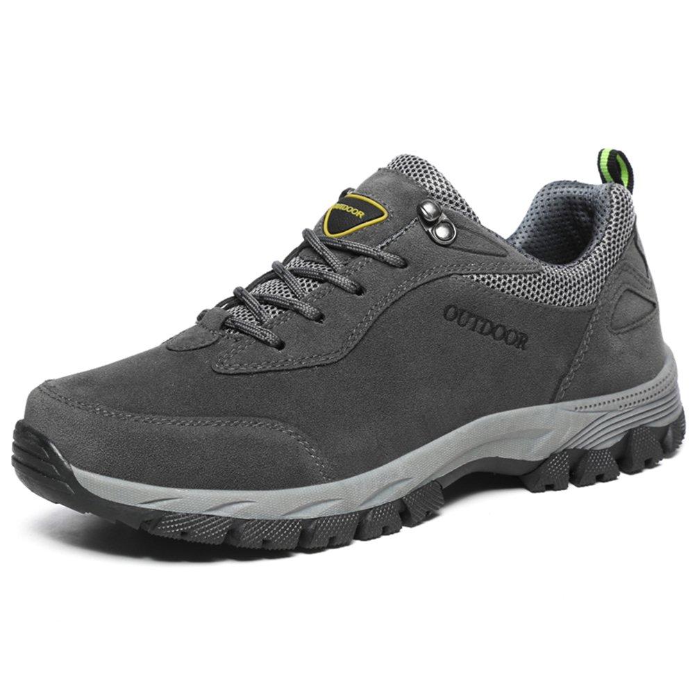 NEOKER Wanderschuhe Trekking Schuhe Herren Damen Sports Outdoor Hiking Sneaker Armee Gruuml;n Blau Schwarz Grau 36-48  (48EU)|Grau-2