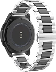 MoKo Band Fit Samsung Galaxy Watch 3 45mm/Gear S3/Gear S3 Classic/Gear S3 Frontier/Galaxy Watch 46MM/Huawei Watch GT 2e 46mm,22mm Stainless Steel Ceramics Link Strap with Butterfly Buckle Clasp,Silver