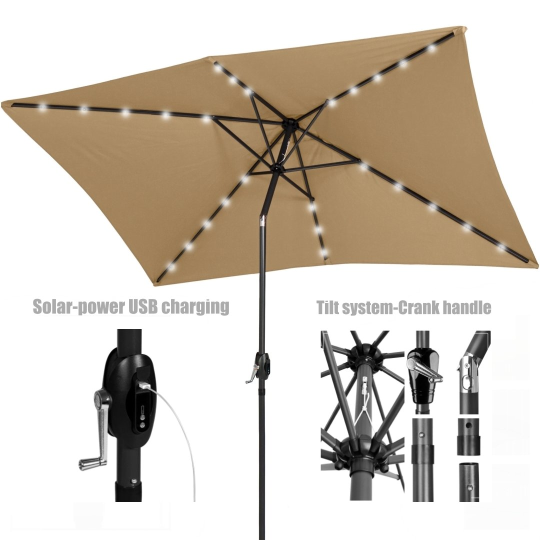 New Patio Outdoor 10' x 6.5' UV Blocking Tilt & Crank Handle Sunshade Umbrella With Solar-Power LED lights-USB charging port-Portable Power Bank/ Beige #971