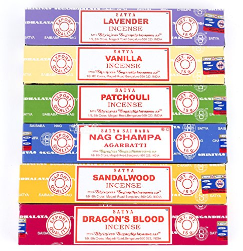 Nag Champa 6 pc Variety Pack- Lavender, Vanilla, Patchouli, Nag Champa, Sandalwood, and Dragon's Blood