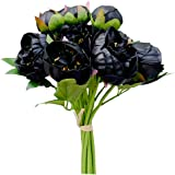 Mandy's Artificial Black Latex Peonies Bouquet for Home Wedding Decoration