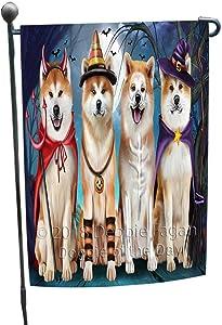 Doggie of the Day Happy Halloween Trick or Treat Akita Dog Garden Flag GFLG52521