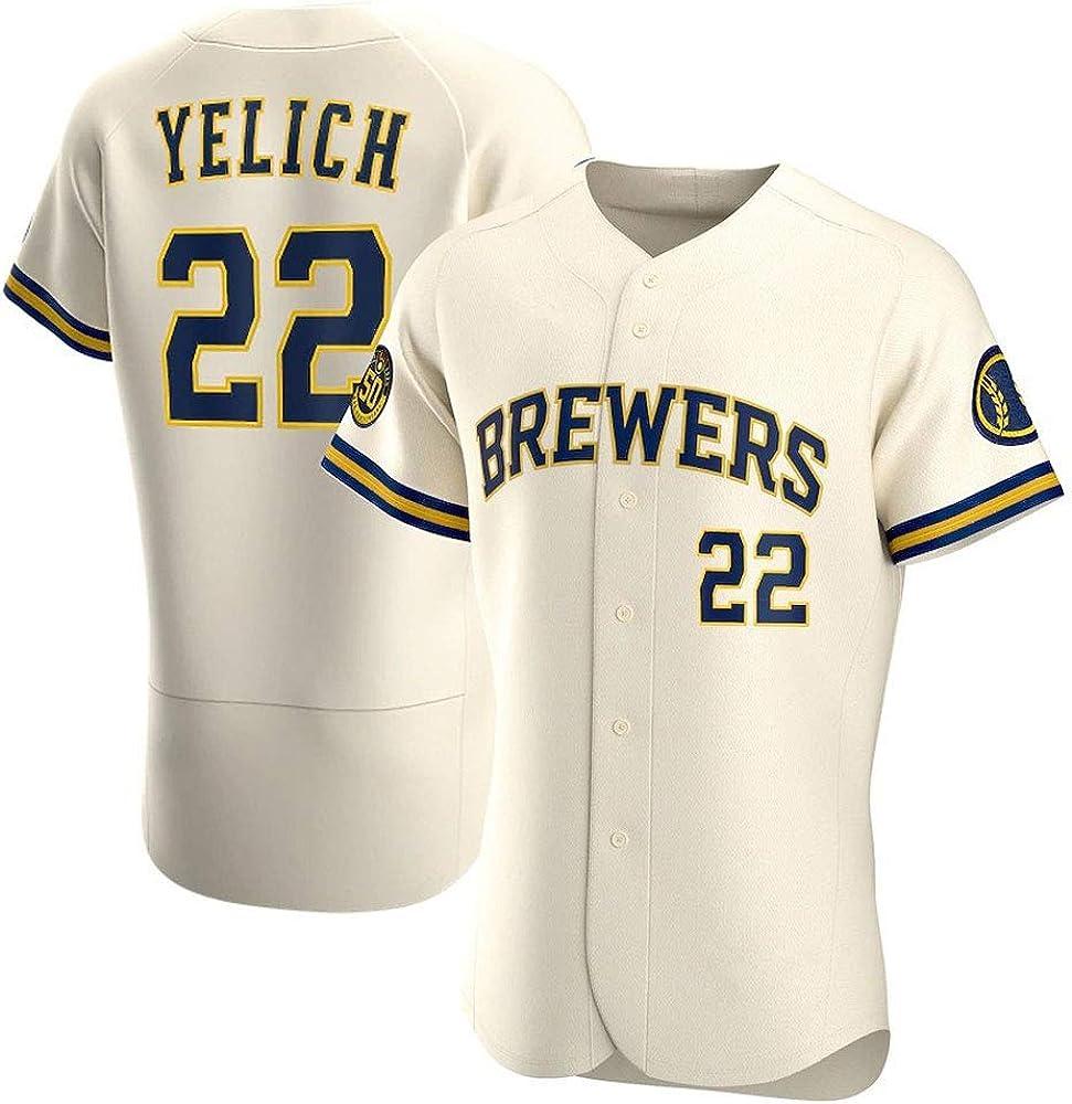 Cerveceros # 22 Yelich Camiseta de béisbol para Hombre, Camiseta de Manga Corta para Adultos Camiseta de élite Camisa Uniformes del Equipo de competición Camisetas de Abanico Top Abotonado S-3XL- B: Amazon.es: