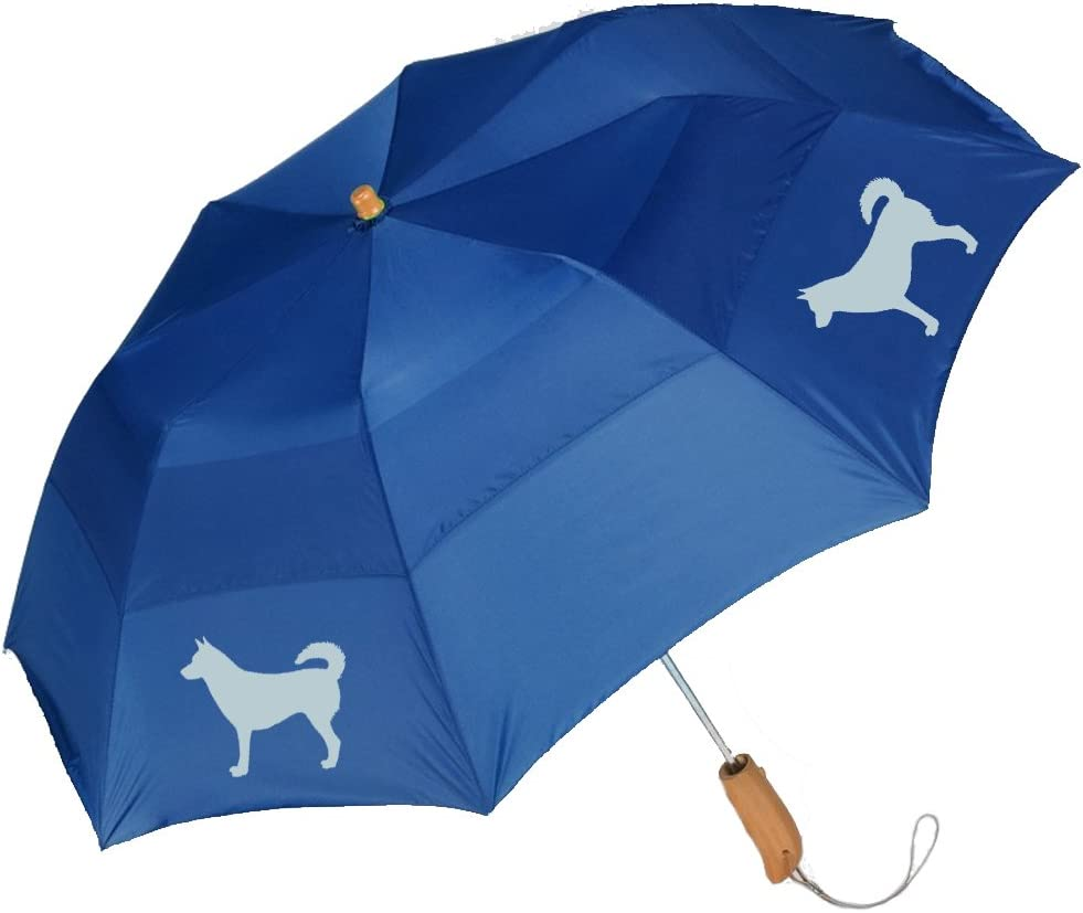 Peerless 43 Arc auto open folding umbrella with Norwegian Lundhund Silhouette