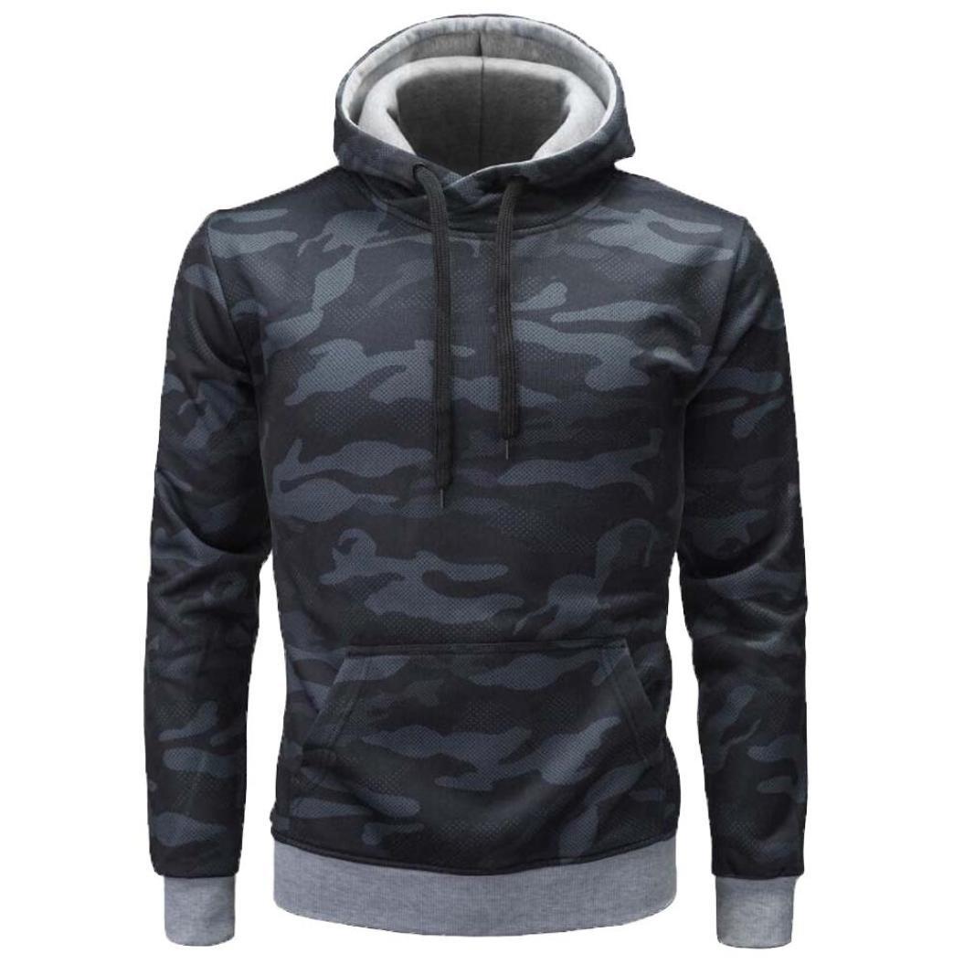 SCSAlgin Men's Tops, Men's Autumn Winter Long Sleeve Camouflage Hooded Sweatshirt Tops Blouse (Black, M)