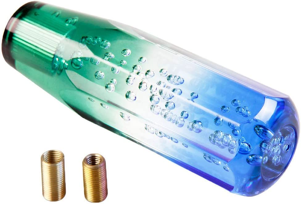 Octagon Crystal Bubble Gear Shifter Shift Knob for Manual Car Blue and Green