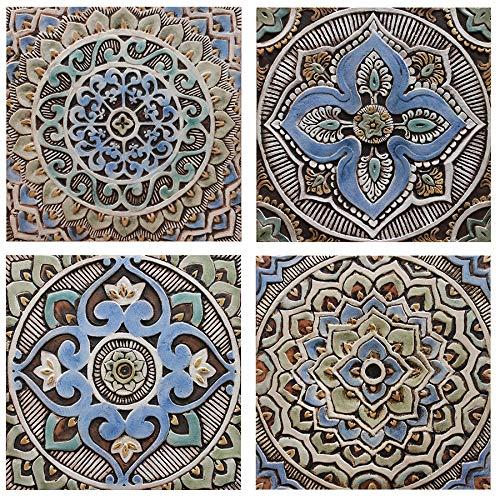 Mandala Design wall art Ceramic wall art MANDALA #3 Matt Blue 11.8 wall tile installation