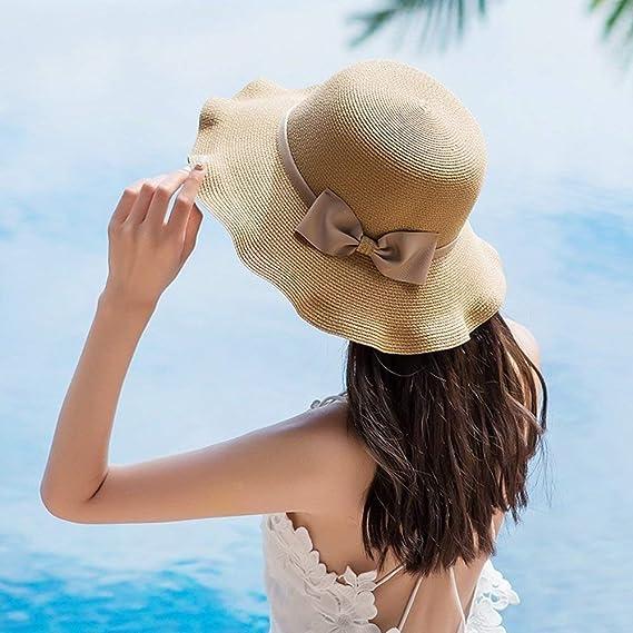 SYGoodBUY Sombrero de Paja Sombrero de Sol Travel Beach Plegable Sombrero  de ala Enrollado con Bowknot (Color   1 e3986b51efb
