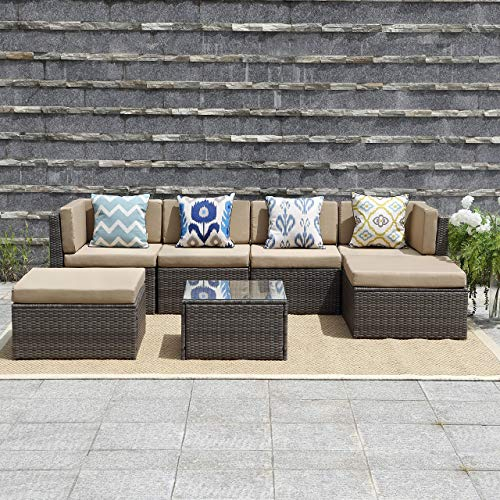 Wisteria Lane Outdoor Patio Furniture Set,7 Piece Rattan Sectional Sofa Couch All Weather Wicker Conversation Set with Ottoma Glass Table Grey Wicker, Beige Cushions (Replacement Allen Patio Parts Roth Furniture)