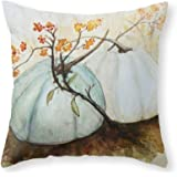 White Great Pumpkin Decorative Polyester Throw Pillow Cover Square Pillow Case Cushion Cover 18 x 18 Inches
