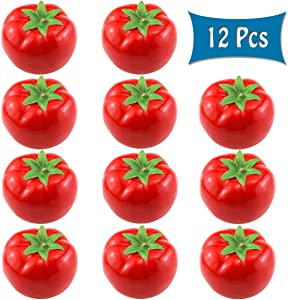 """BcPowr 12PCS Fake Red Tomato Artificial Deep Red Tomato Artificial Lifelike Simulation Red Tomato Fake Fruit Home House Display Decoration for Still Life Paintings Kitchen Decor (Red, 3.15""""x2.4"""")"""