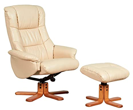 Awe Inspiring The Shanghai Bonded Leather Recliner Swivel Chair Matching Footstool In Cream Evergreenethics Interior Chair Design Evergreenethicsorg