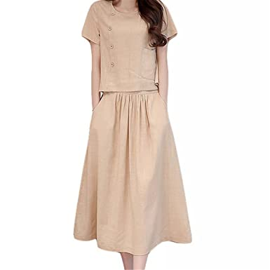 6986e613955 Amazon.com  2 Piece Set Summer Skirt Set Casual Crop Tops Shirts and Long  Skirts Ladies Bodycon Linen Suits  Clothing