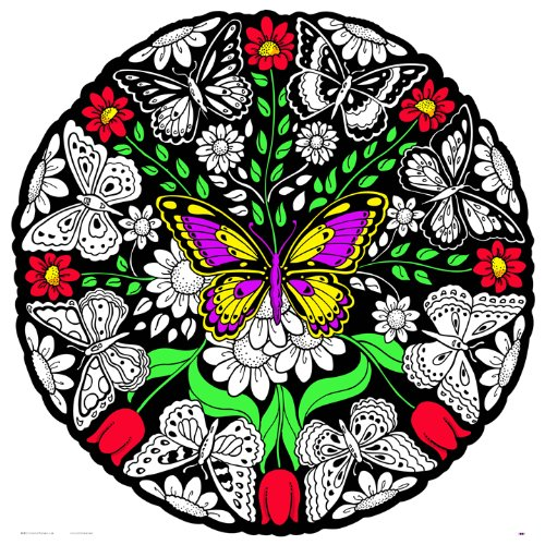 (Butterfly Fuzzy Velvet Mandala - 20x20 Inches - Coloring Poster)