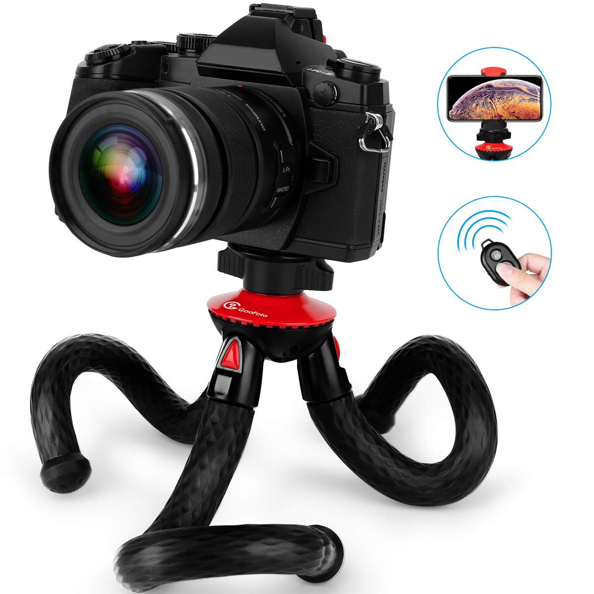 Phone Tripod, Goofoto Flexible Tripod, Tripod for iPhone Android Phone with Wireless Remote and Phone Clip, Camera Tripod for Mirrorless DSLR Sony Nikon Canon by Goofoto