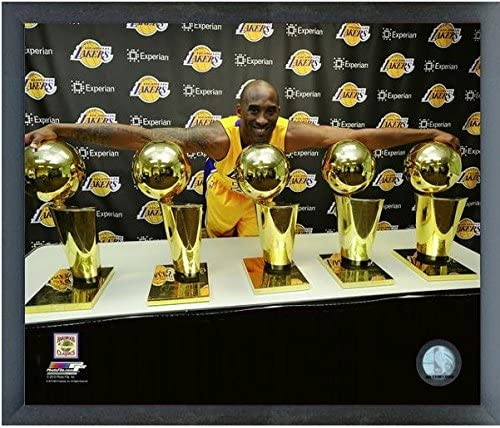 Size: 12 x 15 Kobe Bryant Los Angeles Lakers 5 Trophies Photo Framed