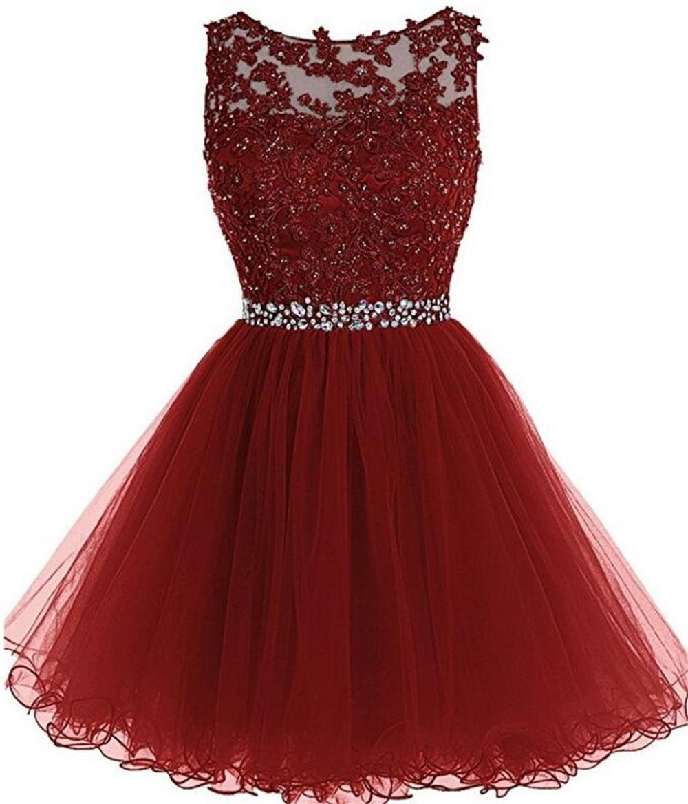 Chugu Homecoming Dresses Short Prom Party Dress for Women Juniors A Line  Tulle 2019 Plus Size C6 Burgundy 14