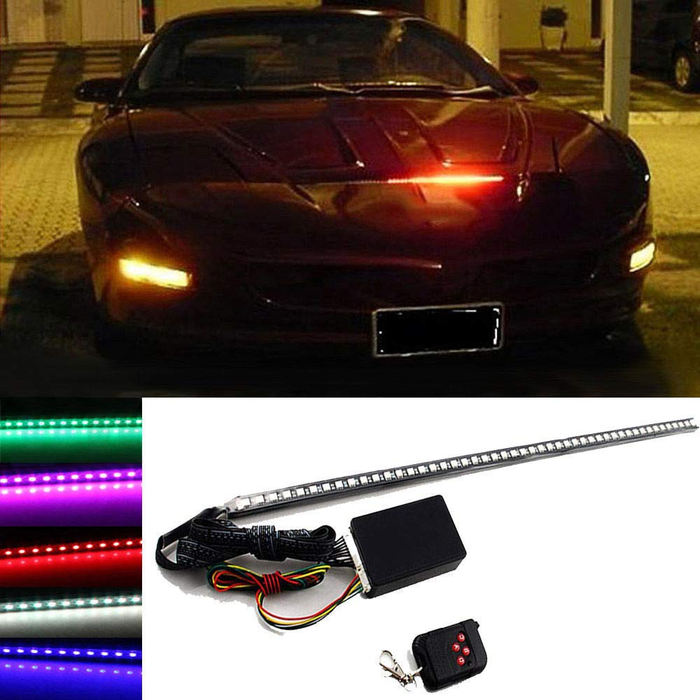 FidgetFidget Light Strip 7 Color 48 LED RGB Scanner Flash Car Strobe Knight Rider Set 22 inch