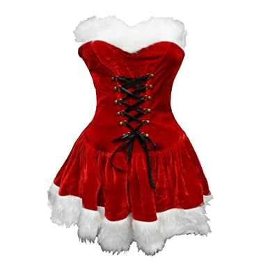 amazoncom bslingerie red christmas santa mrs claus women full costume outfit clothing