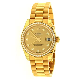 Amazon Com Rolex Lady Datejust Automatic White Dial 18k Yellow Gold