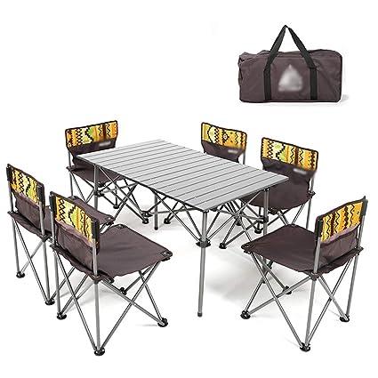 Jia He Mesa de picnic Juego de mesa y sillas plegables para ...
