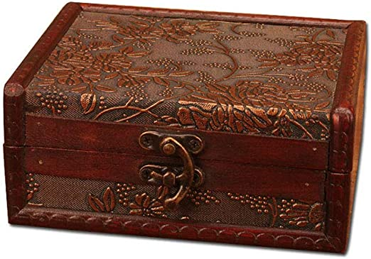 Composite Wooden Treasure Chest for Gift Box 5.6x 4.5x 2.6 Home Decoration Home Decorative Treasure Box