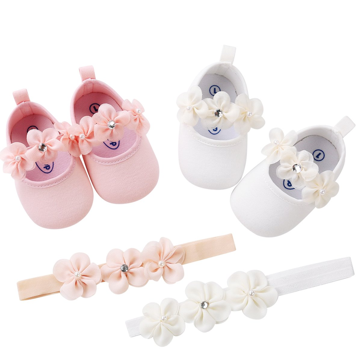 LIVEBOX Baby Infant Girls Shoes, Soft Sole Prewalker Mary Jane Princess Dress Crib Shoes with Free Baby Headband for Attend Wedding Birthday Party Events (White, S) by LIVEBOX (Image #6)