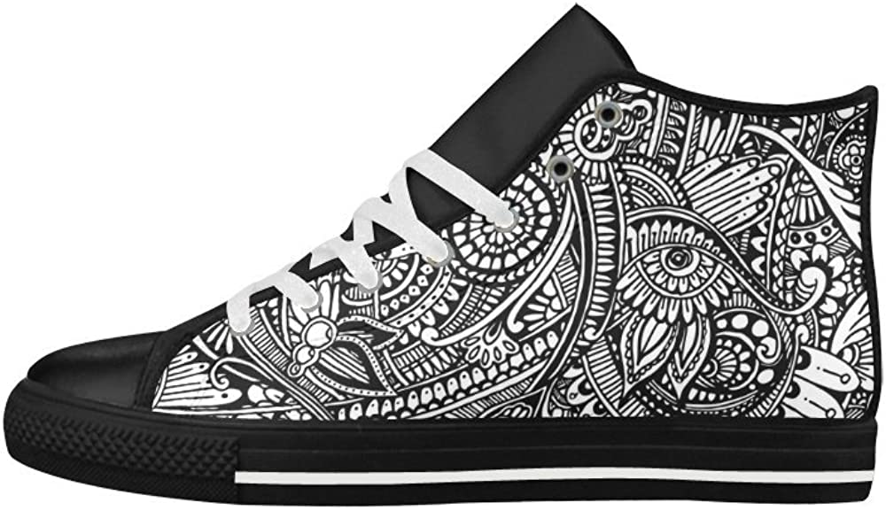Custom Aquila Leather Shoes Black and White Flower Pattern Art Aquila High Top Action Leather Shoes for Men