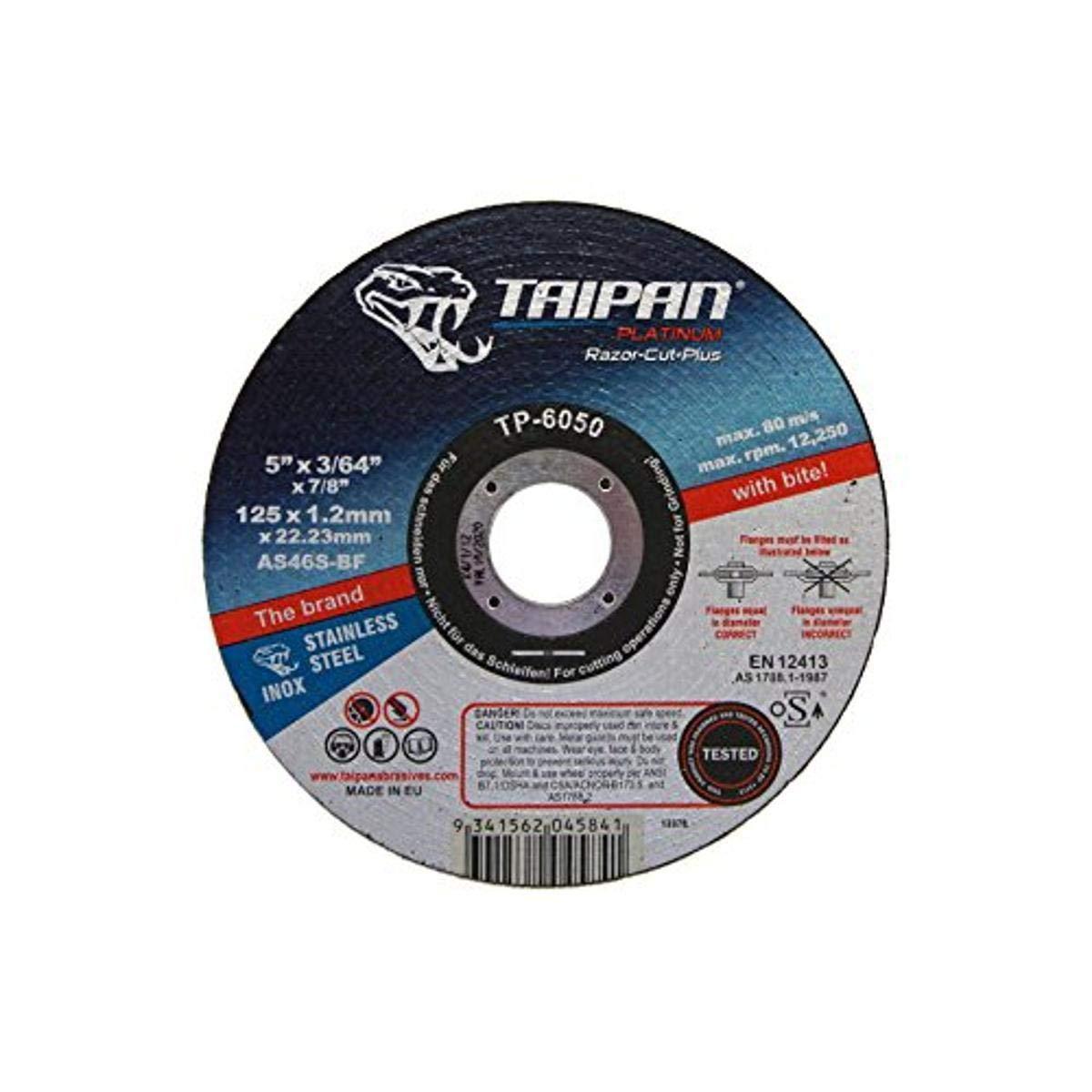 Taipan Abrasives TP-4264 Platinum Razor Ceramic Fiber Disc 80 Grit 7//8 Arbor 8600 RPM 7 OD