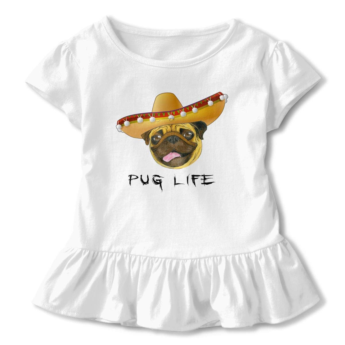 CZnuen Pug Life Mexico Hat Baby Girls Round Neck Short Sleeve Ruffle T-Shirt Top