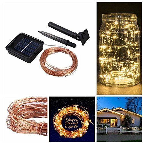 Amazing Decoration Light 2 Mode Auto Sensor Nature Powered Water proof 80+10/10M LED Bulb Long Time Up to 10 Hours No Wiring Easy Use & Install perfect for Christmas New Year birthday MI-A1 (Patio Furniture 80s)