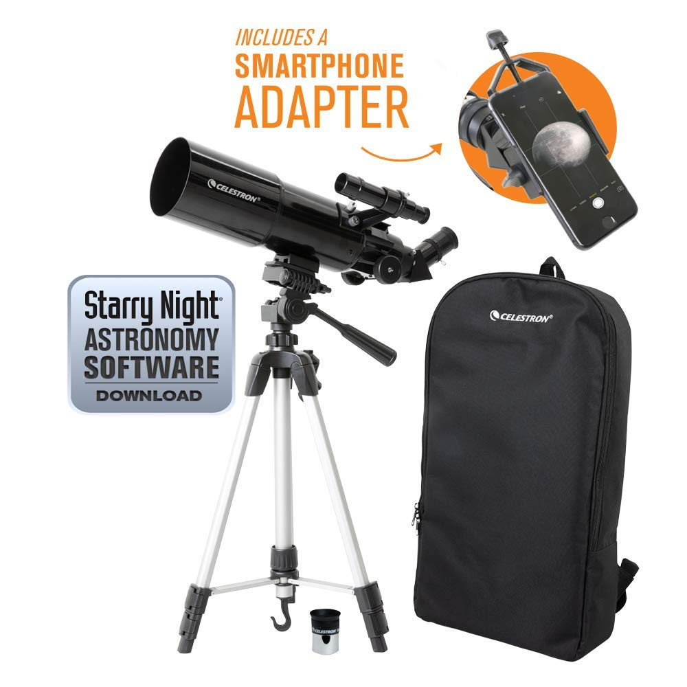 Celestron 22030 Travel Scope 80 Portable Telescope with Smartphone Adapter and Backpack, (Renewed) by Celestron