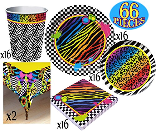 Totally 80's Theme Party Supplies Pack for 16 People, Includes 16 Large Plates, 16 Small Plates, 16 Napkins, 16 Cups & 2 Table Covers - Perfect for Throwback Fun or Birthday